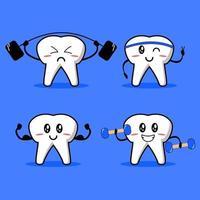 Cute Strong Teeth Set vector