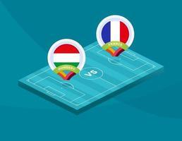 Hungary vs france match vector
