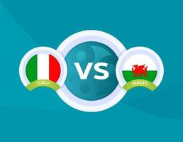 italy vs Wales match vector
