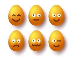 3d Easter egg emoji set vector