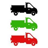 conjunto de camiones sobre fondo blanco vector
