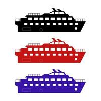 Ship Set On White Background vector