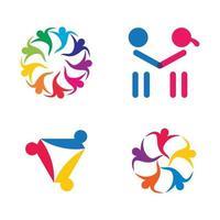 conjunto de diseño de imágenes de logotipo de atención comunitaria vector