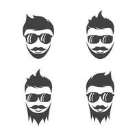 conjunto de ilustraciones de imágenes de logotipo de cara de caballero vector