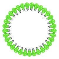 Ilustración 3d de bombillas de colores enmarcadas aisladas en blanco