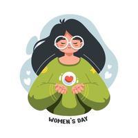 Ilustración plana de hermosa y linda niña en la celebración del día internacional de la mujer. vector