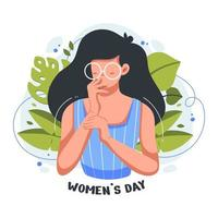 Flat illustration of Beautiful and cute girl in the celebration for international women's day vector