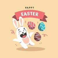 Flat Happy Bunny in Easter day Background vector