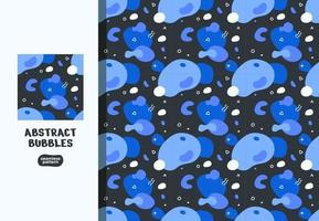 Blue Abstract Bubbles Seamless Pattern Vector Illustrations