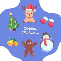 Cute Colorful Christmas in the winter illustrations vector