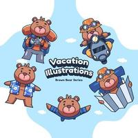 Cute Holiday Vacation Bear Vector illustrations