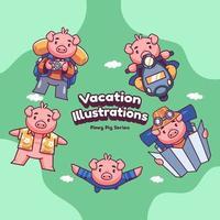 Cute Holiday Vacation Pink Pig Vector illustrations