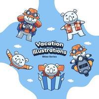 Cute Holiday Vacation Rhino Vector illustrations