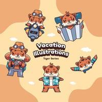 Cute Holiday Vacation Tiger Vector illustrations