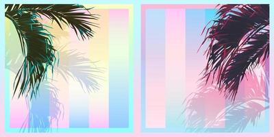 Exotic tropical palm coconut tree leaf, sweet saturation pastel gradient colour palette, retro vintage nostalgic vector