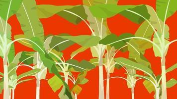 Selva de plátanos exóticos tropicales calientes, plantilla de fondo de ambiente de verano de vector plano simple