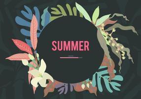 Plantilla gráfica de fondo de hojas tropicales dulce color pastel oscuro y cálido, con texto de carga de verano, vector de estilo simple para dibujar a mano