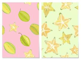 2 Vector seamless pattern of star fruit carambola fruit, whole and slice. on bright pink background