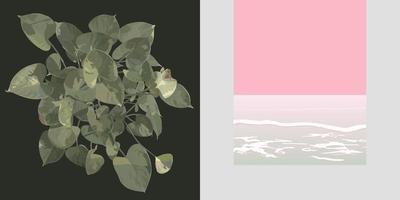hoja de aráceas y diseño minimalista de beack rosa pastel vector