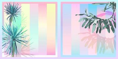 Exotic tropical Dracaena and orchid, sweet saturation pastel gradient colour palette, retro vintage nostalgic vector