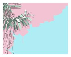 Vector of orchid tree stylish flat style. nice sweet pastel color palette. with space for texts. nostalgic emotion aesthetic feeling