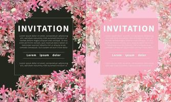 Tropical Flowers Chinese honeysuckle, Rangoon creeper invitation card, exotic tropical flat realistic vector dark and light background