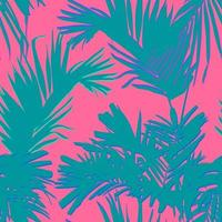 Tropical palm and coconut leaves, minimal flat style vector, sweet pastel pink and green, seamless pattern vector