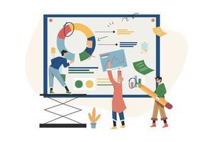 concepto de reunión de negocios para el trabajo en equipo en busca de nuevas soluciones vector