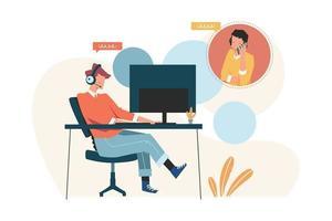 Customer service advises customer online support vector