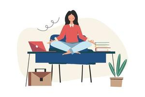 meditación durante las horas de trabajo para cuerpo, mente y emociones vector