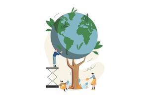 plantar un árbol para salvar el planeta vector