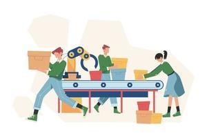 Línea de producción de la industria inteligente con trabajadores. vector