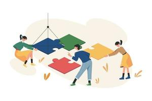 Teamwork arranges the puzzle business concept vector