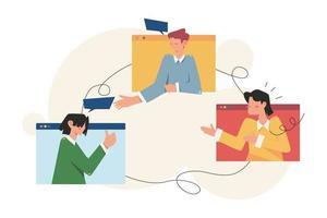 personas haciendo reuniones de negocios en línea vector