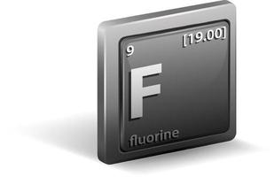 Fluorine chemical element. Chemical symbol with atomic number and atomic mass. vector