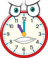 Clock cartoon character with facial expression vector