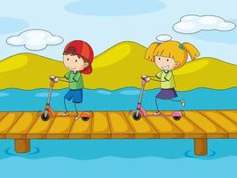 Outdoor scene with two kids riding scooters vector