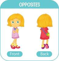 Opposite words with front and back vector