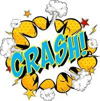 Word Crash on comic cloud explosion background vector