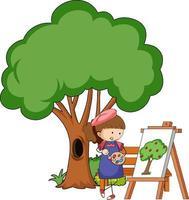 Pequeño artista dibujando una imagen de árbol aislado sobre fondo blanco. vector