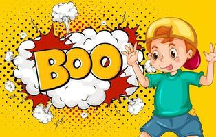 BOO word on explosion background with boy cartoon character
