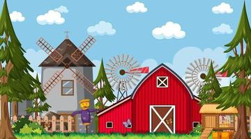 Empty farm scene with red barn and windmill vector