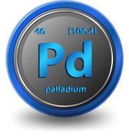 elemento químico paladio. símbolo químico con número atómico y masa atómica. vector