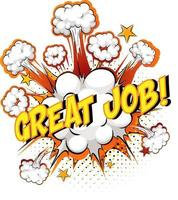 Word Great Job on comic cloud explosion background vector