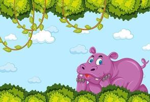 personaje de dibujos animados de hipopótamo en la escena del bosque en blanco vector