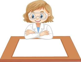 Scientist girl uniform with blank paper on the table vector