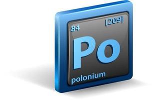 elemento químico polonio. símbolo químico con número atómico y masa atómica. vector