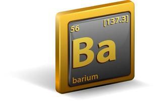 elemento químico de bario. símbolo químico con número atómico y masa atómica. vector