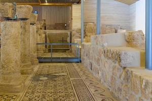 Ornate floor mosaics at the Basilica of Moses at Mount Nebo, Jordan, 2018