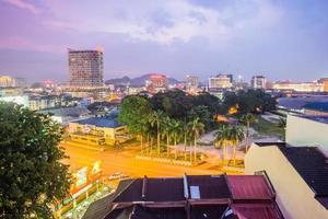 Evening view of Ipoh town with modern and historical architecture